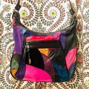 Vintage leather color block purse